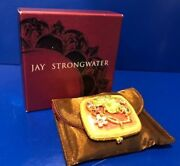 Jay Strongwater Double Mirror Enameled Compact W Floral Frog Design With Box