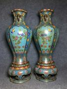 20.5 Chinese Antique Bronze Cloisonne A Pair Hand Painting Flower Bird Vases