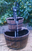 Rustic 2-tier Wood Water Barrel And Pump Fountain Feature 37'' Wooden