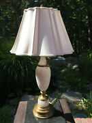 Boxboro Lamp Antique Solid Brass And Alabaster With Piped Scalloped Shade
