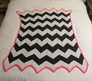 Vintage Handmade Crocheted Baby Afghan Chevron Pattern 45 X 36 Pink Whte Gray
