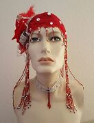 2pc Red Silver Beaded Flapper 20's And Choker Headpiece Hat Bridal Costume Wedding