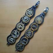 Vintage Two Leather Straps With 5 X Horse Brasses Tracked Post