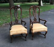 Antique Carved High Back Chairs Queen Anne Style Renaissance Revival