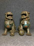 11.8 Chinese Antique Old Bronze Cloisonne Handmade A Pair Lion Flower Statues