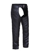 Motorcycle Biker Leather Chaps With Jean Pockets Unisex Ykk Zippers