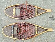 Floyd Westover Wooden And Leather Snow Shoes 13 X 35 No 207