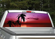Beach Palm Trees 11 Tropical Sunset Rear Window Decal Graphic For Truck Suv