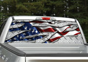 American Flag Ripped Metal Diamond Plate Rear Window Decal Graphic For Truck Suv