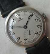 Rolex Trench Wristwatch Silver Case Load Manual Refinished Dial Recent Service