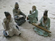 Lot 4 Chinese Mud Man Clay Figurines Statues People