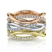Diamond Stackable Infinity Rings 14k Tri Color Gold Twist Braid Round Cut 0.51ct