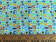 Cotton Flannel Fabric Owl Blue Timeless Treasures By 1/2 Yard