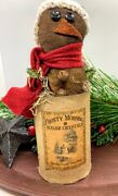 Primitive/country Christmas Snowman Prim Can 8 Knit Hat And Scarf Grungy