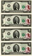 10 Consecutive 1976 2 Dollar Bills First Day Of Issue W/ John F Kennedy Stamp