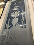 Etched Glass Door Bird Chasing Bug 105 X 30 Old Victorian Style