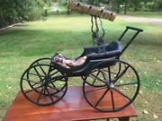 Antique 19th Century Victorian Doll Carriage Pram Buggy Wooden Fringed Canopy