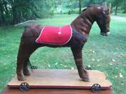 Antique 1800s Victorian Real Hide Pull Toy Horse Ride-on Pony Wheels Glass Eyes