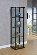 4-shelf Glass Curio Display Cabinet Tower Black And Clear 950171