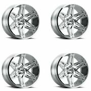 Set 4 22x10 Vision 363 Razor Chrome 5x5 Lifted For Jeep Truck Rims -19mm W/ Lugs