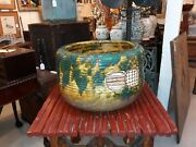 Large And Exceptional Antique Japanese Oribe Pottery Planter