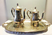 Antique Silver Plated Brass Mik Pot Tea Coffee Service Pots And Tray Pot Lot 2