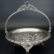 Aesthetic Movement Victorian Pairpoint Silver Plate Cake Basket Seashell Design
