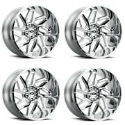 Set 4 20x10 Vision Off Road Spyder Chrome 5x5 For Jeep Truck Rims -25mm W/ Lugs