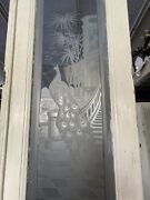 Etched Glass Door With Peacock On Castle Stairs 124x24