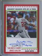2019 Archives 1978 Topps Record Breakers Red /10 Juan Soto Rba-js Auto