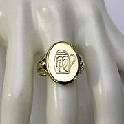 Vintage 14k Yellow Gold Oval Engraved Signet Ring W/ Tankard Size 9 3/4 - 12 Gr.