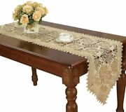 Simhomsen Beige Lace Table Runner Dresser Scarf Embroidered Rose Flower 16 × 72