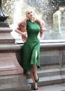 Heart My Closet Vintage 40s Abigail A-line Green Lace Dress With Pearl Buttons