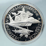 1998 Hungary Jet Fighter Bi-plane Hungarian Air Force Proof Silver Medal I86459