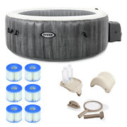 Intex 28439e Greywood Deluxe 4 Person Inflatable Hot Tub Bubble Jet Spa Grey