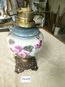 Vintage Antique The French Hand Painted Gwtw Kerosene Parlor Lamp 52020 B
