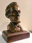 antique Bronze Abraham Lincoln Bust On Wooden Base