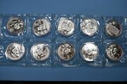 1996 Chinese Silver Panda Full Sheet Double Sealed 10 Coins Large Date