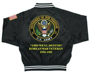 Army Satin Jacketdefenders Korean War 1950-53 Embroidered1-sided Back Only