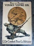Ww1 French Propaganda Poster German Ww2 Victory France Combat War Soldier Medal