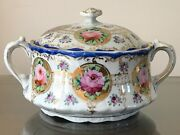 Antique Nippon Hand Painted Porcelain Covered Dish Roses And Gold Accents