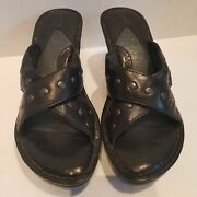 Born Wedges Black Leather Mules Sandals Extra Comfortable Size 7
