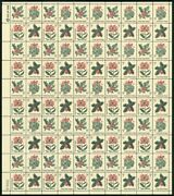 Holly Christmas Sheet Of One Hundred 5 Cent Postage Stamps Scott 1254-57