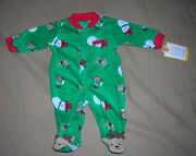 Carters My First Christmas Sleeper With Snowman Reindeer Print  3mo  Nwt