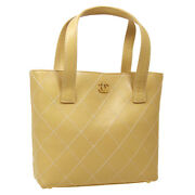 Wild Stitch Quilted Cc Hand Bag 7408802 Purse Beige Leather Auth 05227