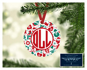 Set Of 4 Monogram Initials Metal Christmas Theme Ornaments Personalized - D13