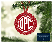 Set Of 4 Monogram Initials Metal Christmas Ornaments Personalized - Stockings D9