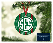 Set Of 4 Monogram Initials Metal Christmas Ornaments Personalized Snowflakes D8