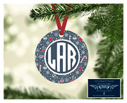Set Of 4 Monogram Initials Metal Christmas Ornaments Personalized Snowflakes D14