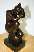 Bronze Sculpture Women Kneeling Foundry Stamp Mioul 113a